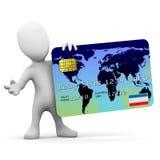 o homem 3d pequeno tem um cartão de crédito Fotografia de Stock