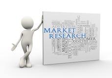 o homem 3d que está com palavra do wordcloud dos estudos de mercado etiqueta Fotografia de Stock Royalty Free