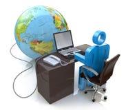 o homem 3d que trabalha no computador conectou ao globo Foto de Stock