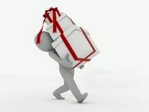 o homem 3d vai com caixas de presente em um fundo branco Foto de Stock