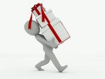 o homem 3d vai com caixas de presente em um fundo branco Fotos de Stock Royalty Free