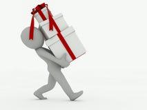 o homem 3d vai com caixas de presente em um fundo branco Fotos de Stock