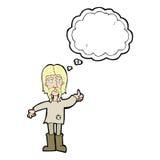 o homem da hippie dos desenhos animados que dá os polegares levanta o símbolo com bolha do pensamento Foto de Stock