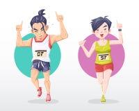o homem da ilustração e o marathoner da mulher numeram um sinal com sorriso ilustração stock