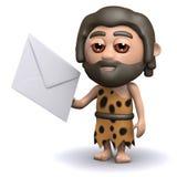 o homem das cavernas 3d tem o correio Fotos de Stock Royalty Free