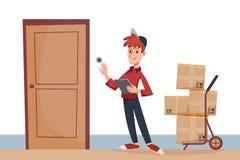 O homem de entrega com os pacotes na porta soa a campainha Servi?o de entrega r?pido ? porta pelo conceito do correio Desenhos an ilustração stock