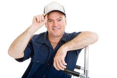 O homem de entrega derruba o chapéu imagem de stock royalty free