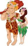 O homem de neanderthal com esposa Foto de Stock Royalty Free