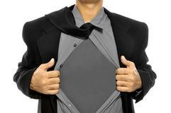 O homem de negócio abre sua camisa imagem de stock