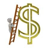 O homem de negócio branco escala a escada ao símbolo do dólar do ouro Fotos de Stock