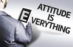 O homem de negócio com a atitude do texto está tudo em uma imagem do conceito Imagem de Stock