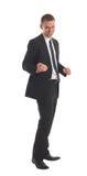 O homem de negócio considerável Excited com braços levantou dentro Imagens de Stock Royalty Free