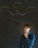 Homem de negócio de pensamento com pensamentos da nuvem do giz Fotos de Stock