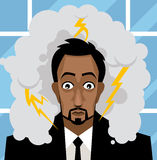 O homem de negócio do escritório preocupou-se com uma tempestade em sua cabeça Imagens de Stock