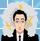 O homem de negócio do escritório preocupou-se com uma tempestade em sua cabeça Imagens de Stock Royalty Free
