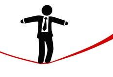 O homem de negócio do símbolo anda no tightrope do risco do perigo ilustração do vetor