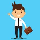 O homem de negócio dos desenhos animados vai trabalhar Imagens de Stock