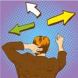 O homem de negócio encontra o trajeto e as escolhas uma maneira na estrada transversaa com muitas setas Ilustração do vetor no es Imagens de Stock Royalty Free
