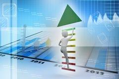 O homem de negócio escala acima escadas ao sentido da seta ao sucesso Imagem de Stock Royalty Free