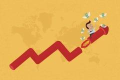 O homem de negócio no gráfico crescente recolhe o dinheiro Fotografia de Stock