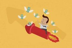 O homem de negócio no gráfico crescente recolhe o dinheiro Fotos de Stock