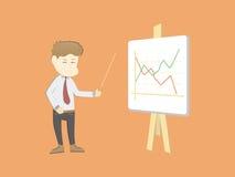 O homem de negócio novo dos desenhos animados mostra-nos o diagrama, bom Foto de Stock