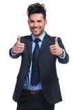 O homem de negócio que faz a aprovação manuseia acima do gesto Imagem de Stock Royalty Free