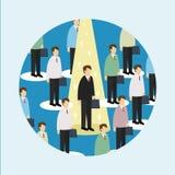 O homem de negócio shinning entre homens de negócio ilustração royalty free
