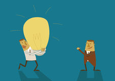 O homem de negócio tem uma ideia e um chefe grandes felizes demasiado ilustração do vetor