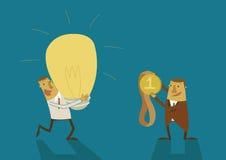 O homem de negócio tem uma ideia grande para a recompensa ilustração stock
