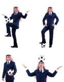 O homem de negócios árabe com futebol Fotografia de Stock