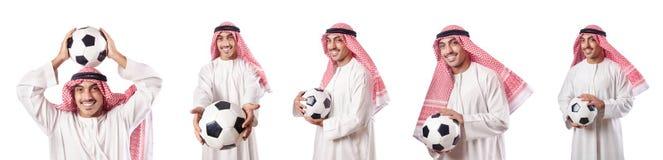 O homem de negócios árabe com futebol no branco Fotos de Stock Royalty Free