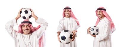 O homem de negócios árabe com futebol no branco Imagens de Stock Royalty Free