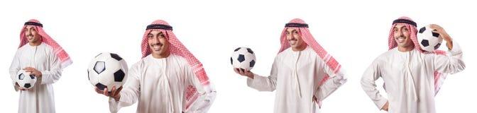 O homem de negócios árabe com futebol no branco Imagem de Stock Royalty Free
