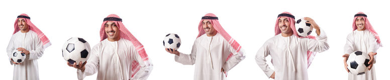 O homem de negócios árabe com futebol no branco Fotografia de Stock