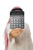 O homem de negócios árabe isolado no branco Fotos de Stock Royalty Free