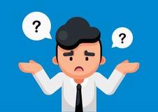 O homem de negócios é de confusão e pensando com pontos de interrogação assine, ilustração do vetor ilustração royalty free