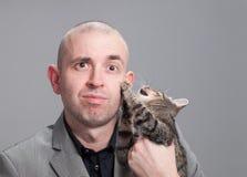 O homem de negócios é riscado por um gato. Fotografia de Stock Royalty Free
