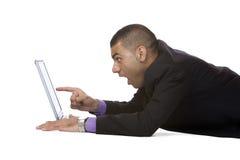 O homem de negócios é surpreendido/espantado Imagens de Stock Royalty Free