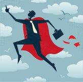 O homem de negócios abstrato é um super-herói Fotos de Stock