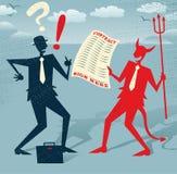 O homem de negócios abstrato assina um negócio com o diabo Imagens de Stock Royalty Free