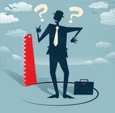 O homem de negócios abstrato moeu o corte abaixo dele. Imagens de Stock Royalty Free