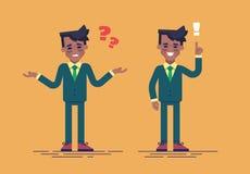 O homem de negócios afro-americano tem um desafio e encontra uma solução Conceito do negócio Estilo liso da ilustração do vetor Fotos de Stock