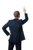 O homem de negócios aponta o dedo acima Imagens de Stock Royalty Free