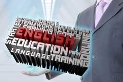 O homem de negócios aprende o inglês ilustração do vetor