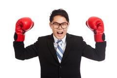 O homem de negócios asiático satisfaz com a luva de encaixotamento vermelha Fotografia de Stock Royalty Free