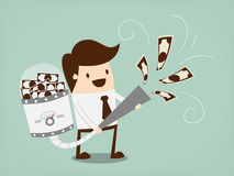 O homem de negócios atrai o dinheiro ilustração royalty free