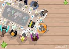 O homem de negócios Brainstorming Analysis do trabalho da equipe do vetor do plano de marketing com lápis, penas, arquivos em pap ilustração do vetor