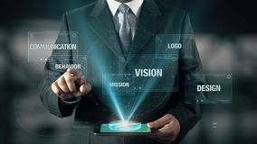 O homem de negócios com conceito da identidade corporativa escolhe o comportamento do projeto Communiction Logo Mission da visão