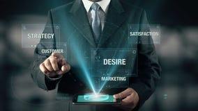 O homem de negócios com conceito do holograma da introspecção escolhe o cliente das palavras ilustração stock